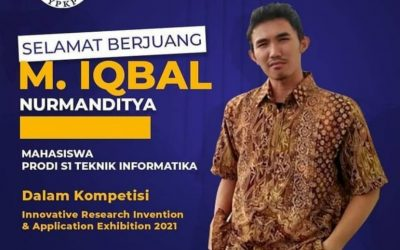 Muhamad Iqbal Nurmanditya Mahasiswa Fakultas Teknik USB YPKP Mengikuti Kompetisi Innovative Research Invention & Application Exhibition 2021